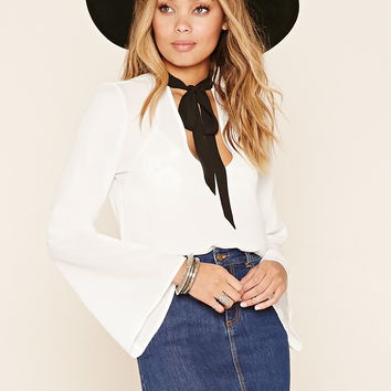 Self-Tie Bell-Sleeve Top