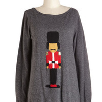 ModCloth Mid-length Long Sleeve Courtly Nutcracker Sweater