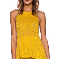 KNITZ by For Love & Lemons Lemon Drop Halter Top in Mustard