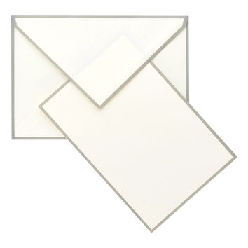 Color Edge Cream and Grey Boxed Flat Note Cards
