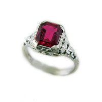 Antique Synthetic Ruby Ring in 14k White Gold // Vintage Filigree Ruby Wedding Ring, Art Deco Ruby Ring