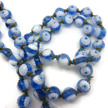 Millefiori Evil Eye Necklace - Venetian Art Glass Beads, Blue and White, Beaded Necklace, Estate Jewelry