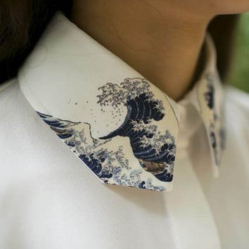 Vintage Japanese painting Hokusai's The Great Wave of Kanagawa white Shirt with wave collar
