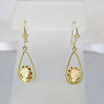 14K Cameo Earrings. Carved Shell Yellow Gold Dangle Drop Pierced Earrings. Vintage Cameo Jewelry