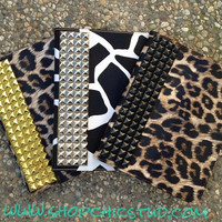 Studded Leopard or Giraffe Print iPad 2/3 Case Silver OR Gold OR Black Studs