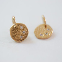2pcs 14k Gold Filled Disc Charm, Three wishes Charm, Disc with Crystals, Etched Disc, Textured Discs, Gold Fill Discs, Vermeil Supplies