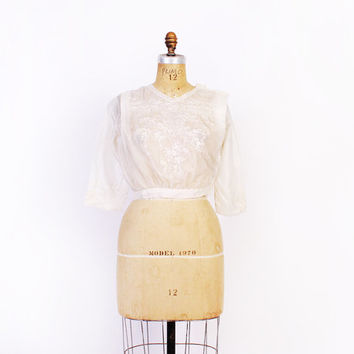 EDWARDIAN Silk BLOUSE / 1910s Sheer Soft White Embroidered Cropped Top XS - S