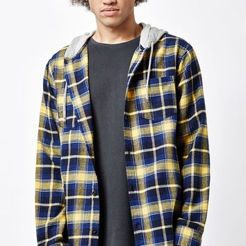 PacSun Hooded Plaid Flannel Long Sleeve Button Up Shirt at PacSun.com