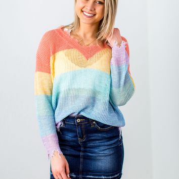 Frayed Perfection Sweater- Multi