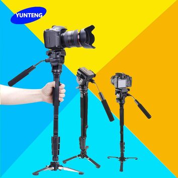 Yunteng C288 Pro Monopod + Fluid Pan Head Ball + DV Unipod Mobile Phone Clip Holder For Canon Nikon DSLR Camera VCT-288