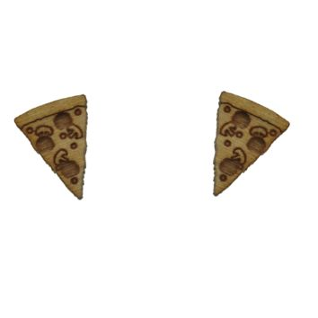 Pizza Earrings in Birch Wood