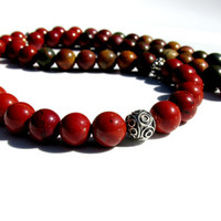 Mens Red Jasper and Picasso Jasper Necklace, Mens Gemstone Necklace, Mens Silver Necklace, Mens Beaded Necklace, Handmade Necklace