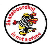 Awesome Vintage Style 80's Skateboarding is Not a Crime 8cm Patch Badge Skater Hat