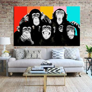 DPARTISAN  wall pictures oil painting print canvas top idea creative decor wall art for wall painting no frame thinking monkey