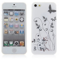Fashion Designer Flowers and Butterfly Style Plastic Case Cover for iPhone 5  Case For Iphone 5 Iphone Cover