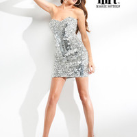 Silver Multi-Shape Sequin Strapless Sweetheart Dress - Unique Vintage - Cocktail, Evening  Pinup Dresses