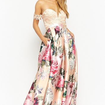 Floral Lace Off-the-Shoulder Gown