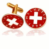 Swiss Red Cross Coin Cuff Links-CLC-CL211