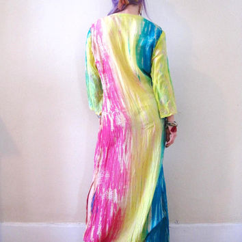 vintage 70's tie dyed silk caftan maxi dress tunic / pastel colorful / boho hippie festival bathing suit cover up