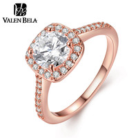 VALEN BELA 18K Rose Gold Plated Engagement Cubic Zircon Anelli Donna Rings for Women JZ5229