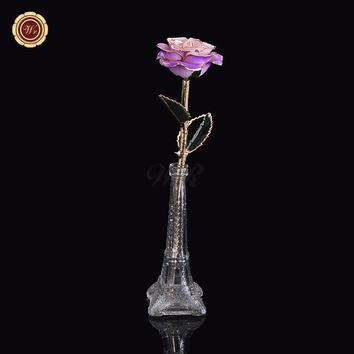 WR Fancy 24k Gold Rose Never Fade Genuine Long Stem Flower with Glass Eiffel Stand for Wedding Decoration Valentine Gift
