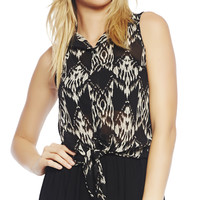 Black & White Tie Front Shirt | Wet Seal