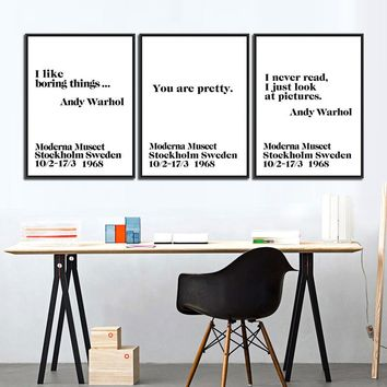 Modern Nordic Canvas Painting Wall Typography Art Print Poster Wall Picture Canvas Painting Andy Warhol Life Home Decor Art