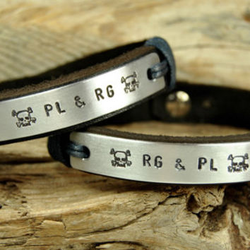 FREE SHIPPING - Personalized Couple Bracelet, Leather Men Bracelet, Men's and Women's Leather Bracelet, Black Leather, Skull Bracelet