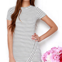 Yacht Club Ivory and Navy Blue Striped Dress