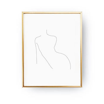 Woman Waist Print, Female Body, Line Drawing, Woman Art, Minimal Art, Woman Figure, Black And White, Single Line Art, Woman Illustration