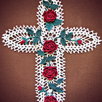 Cross Wall Art, Pineapples, Lace, and Roses