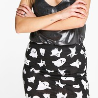 Halloween Gianna Ghost Print Mini Skirt