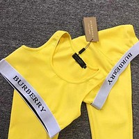 ''Burberry'' Classic Trending Women Stylish Sport Gym Vest Tank Top Pants Trousers Set Two-Piece Sportswear Yellow I/A