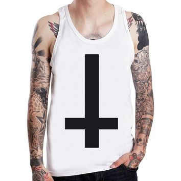 Inverted Cross Anti Goth Punk Rock Symbol Mens Tank Top Boy Sleeveless Tee Shirt US Size S-XXXL