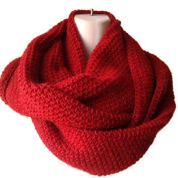 Scarlet Red Baby Alpaca Infinity Scarf