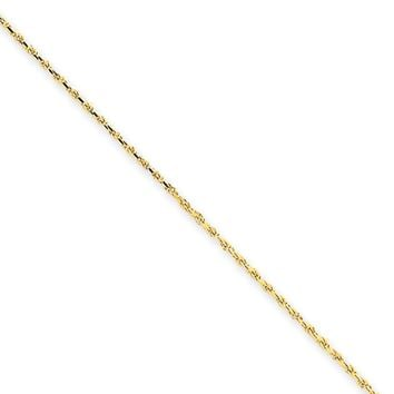 1.15mm, 14k Yellow Gold, Diamond Cut Solid Rope Chain Necklace