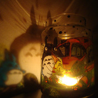 Fanart Studio Ghibli Hayao Miyazaki My Neighbor Totoro & Friends Cat Bus Neko Bus Soot Sprites Stained Glass Candle Holder Candy Jar
