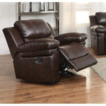 Acme Xenos Glider Recliner (Motion), Dark Brown Leather-Aire