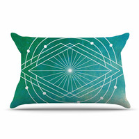 "Matt Eklund ""Atlantis"" Teal Geometric Pillow Case"