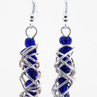Blue silver earrings, silver wire wrapped day earrings with dark blue seed beads , silver plated earring wires uk seller