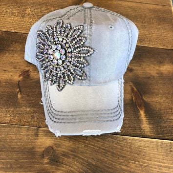 Baseball Bling Hat Light Grey