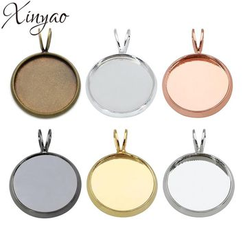 XINYAO 10pcs Copper Necklace Pendants Blank Base Fit 10 12 14 16 18 20 mm Photo Glass Cabochon Cameo Settings Jewelry Making