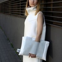 White Leather Clutch