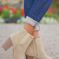 Hitting The Open Road Peep Toe Booties - Beige