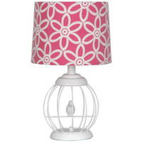 Walmart: your zone bird cage lamp with floral pink and white shade