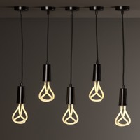Plumen Metal Drop Cap Pendant and Designer Low Energy CFL Bulb - Black | www.hayneedle.com