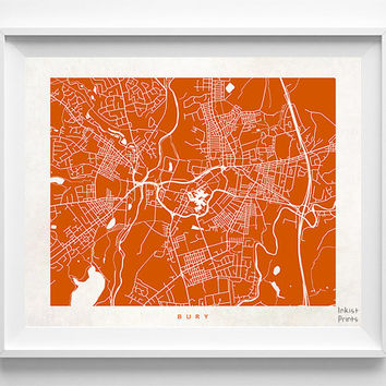 Bury Map, England Print, Bury Poster, England Poster, Map Print, Map Decor, Baby Room Decor, Home Goods, Bedroom Wall Art, Halloween Decor