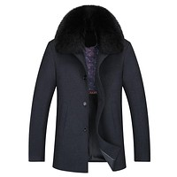 Casual Big Fur Collar Men Winter Coats Wool Thick Long Overcoat