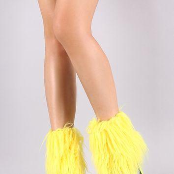 Pointy Toe Fuzzy Faux Fur Stiletto Booties