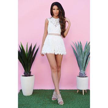 Style And Lace High Neck Romper (White)